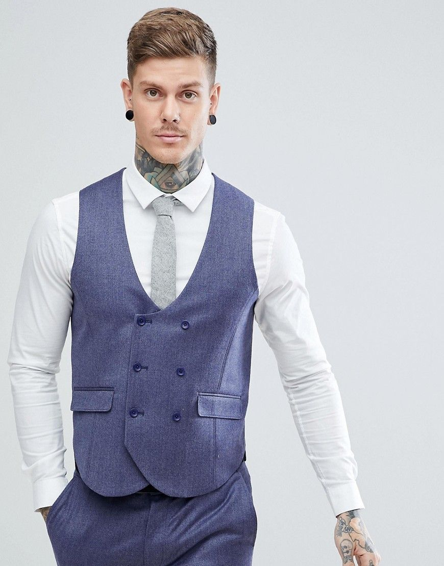 09ef9e5c35086b WEDDING Slim Suit Vest in Deep Blue 100% Merino Wool | 2 | Suit Vest ...