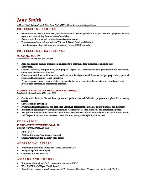 Resume Examples Profile Resume Profile Resume Profile Examples