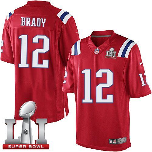 tom brady men's red jersey
