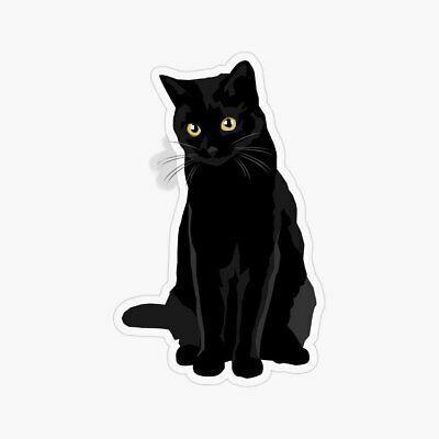 Black Cat Laptop Sticker Bottle Macbook Decal Style 267437 #fashion #h