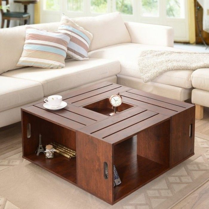 Choisir le meilleur design de la table basse avec - Table en bois carre ...