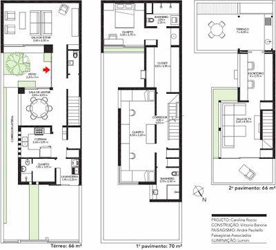 Janela Contemporânea Terreno estreito plan casas Pinterest - plan maison plain pied 200m2