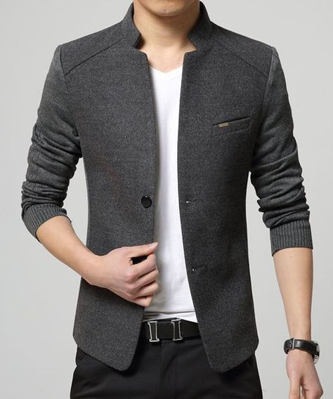 4aaa99455c9cc Solid Color Knit Splicing Stand Collar Long Sleeve Slimming Trendy Cotton  Blend Blazer For Men