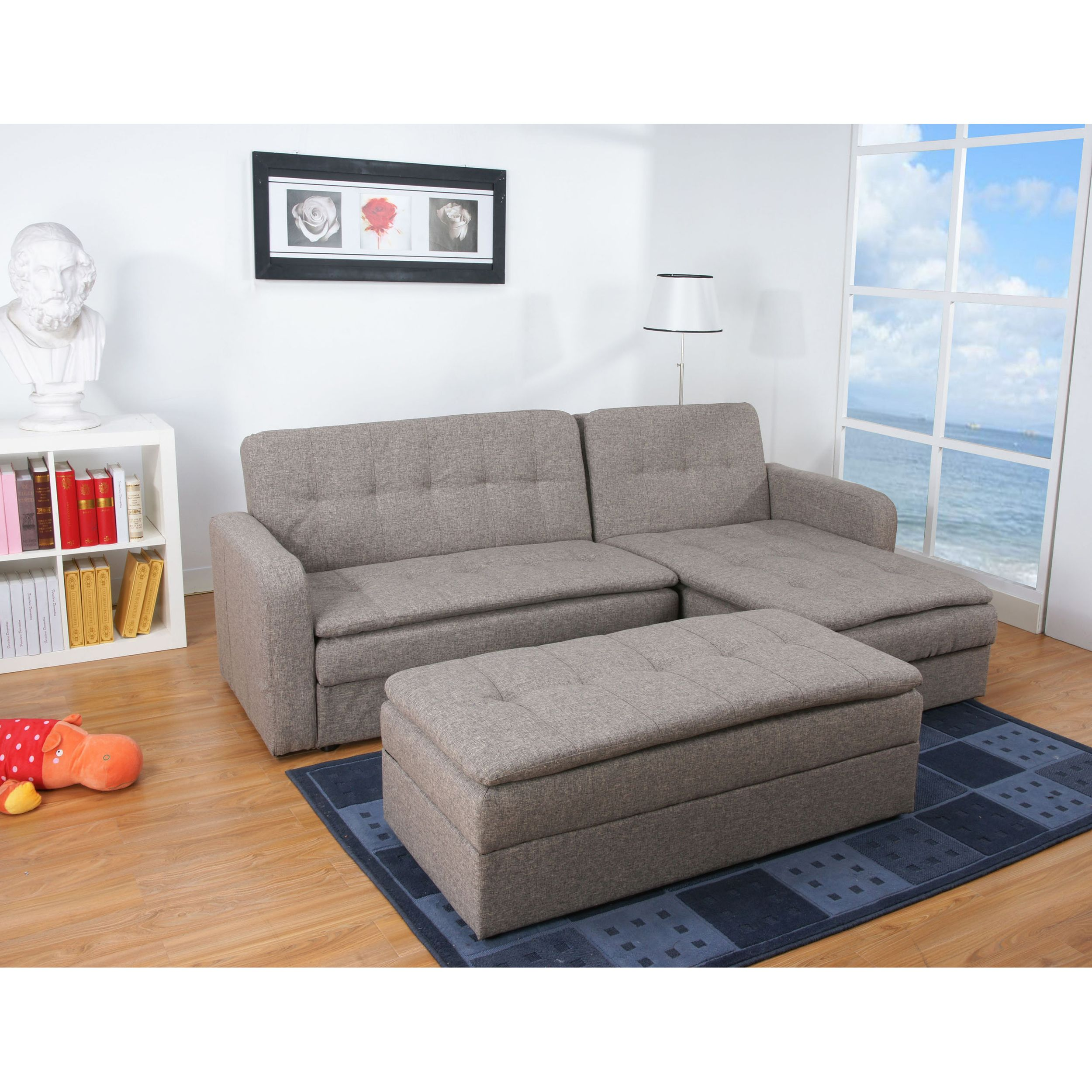 Denver Rind Finish Double Cushion Storage Sectional Sofa Bed and