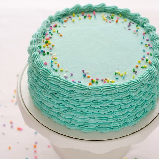 Cake Designs With Whipped Cream : Blue funfetti birthday cake with piped shell sides ...