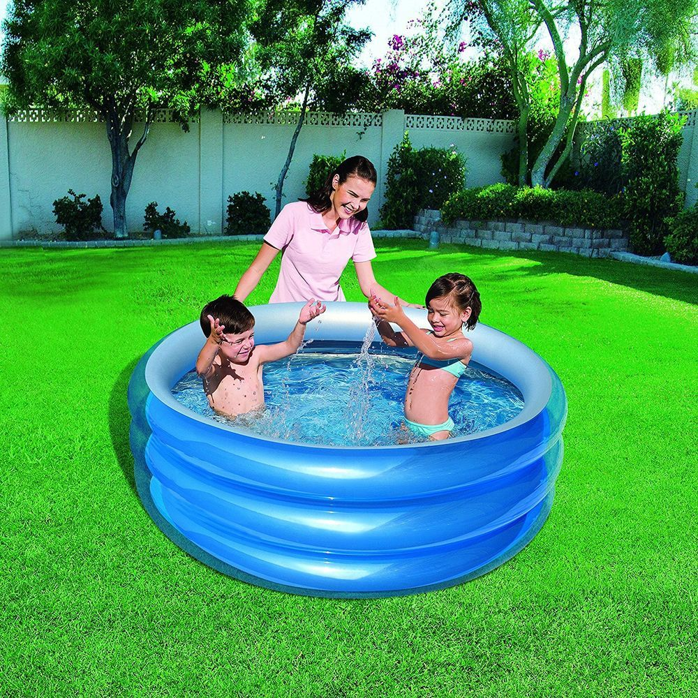 Swimming pool garden  Big 3 Ring Inflatable Paddling Pool Garden Outdoor Swimming 59 x 21 ...
