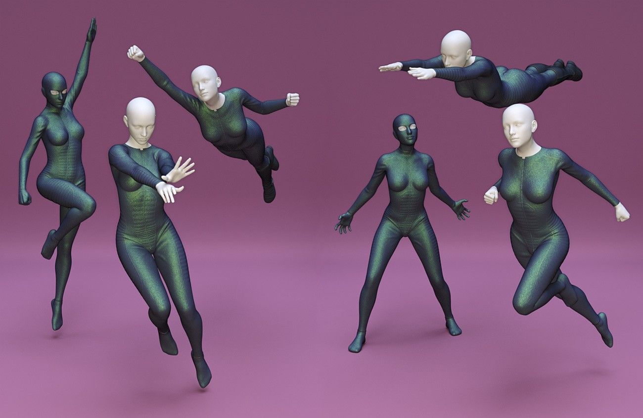 Superhero Poses For Genesis 8 Female 3d Models And 3d Software By Daz 3d Poses Character Poses Action Poses