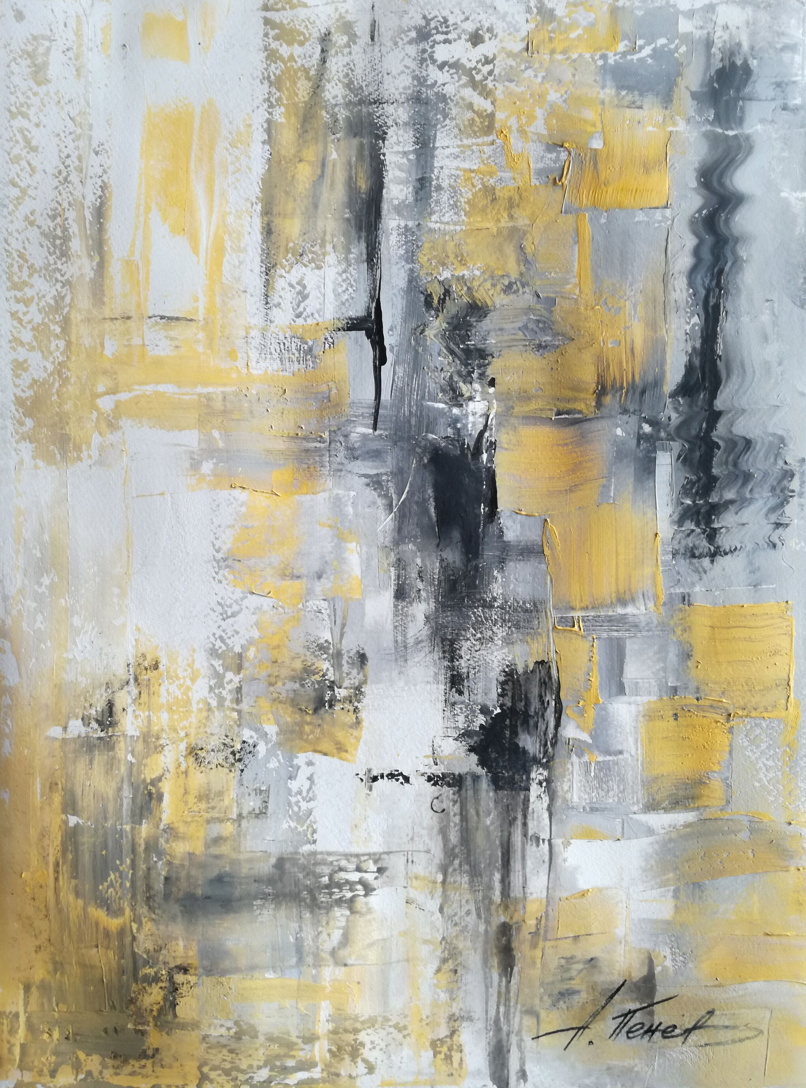 Black-white-yellow Texture Abstract Painting .penev