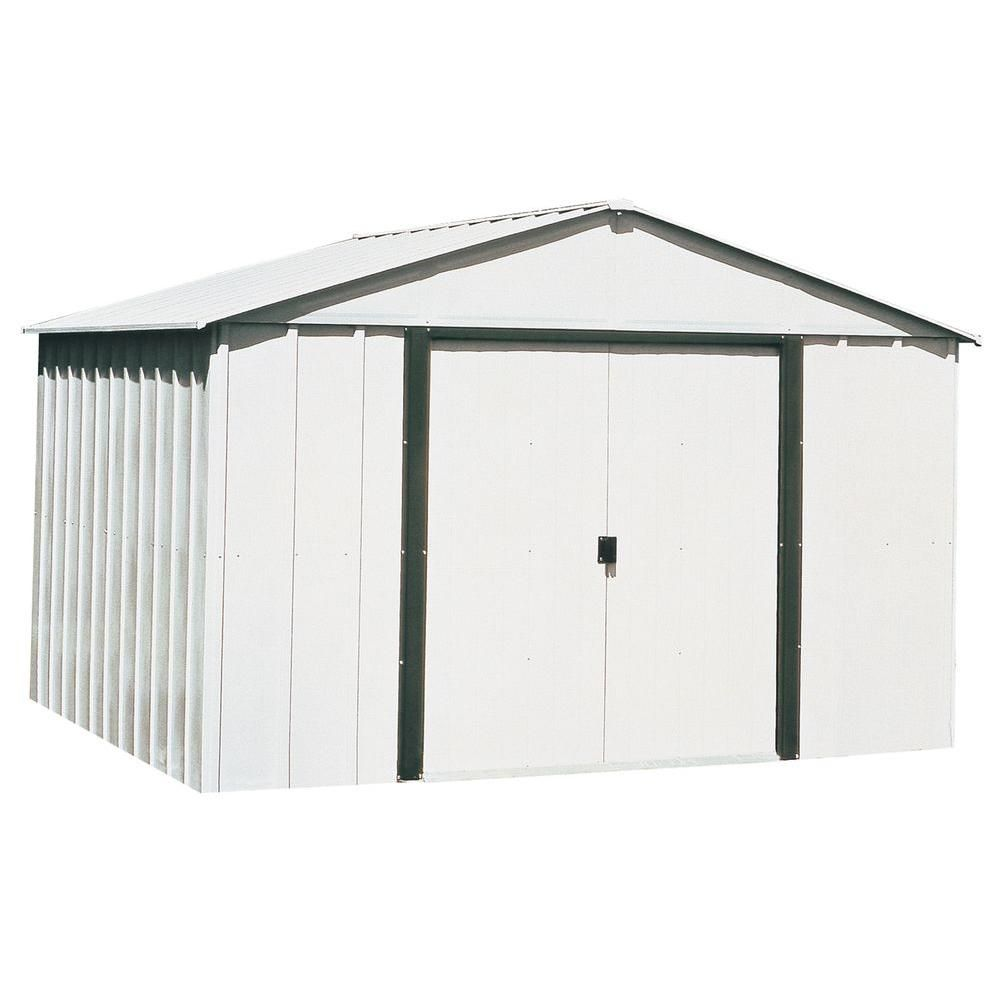 Arrow Arlington 10 Ft W X 12 Ft D Galvanized Metal White Storage Building Ar1012 The Home Depot Metal Storage Sheds Steel Storage Sheds Outdoor Storage Sheds