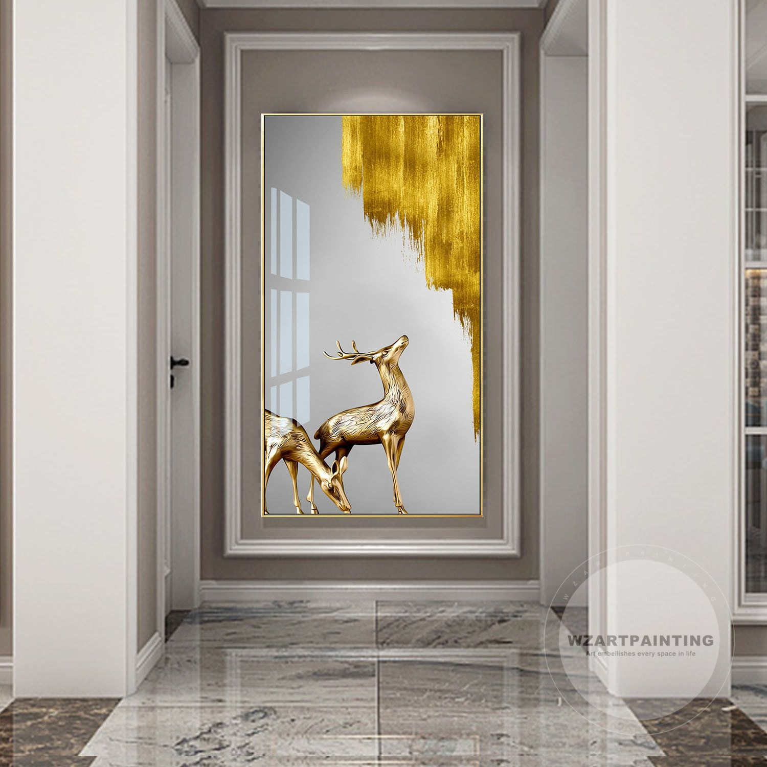 Framed Wall Art Gold Deer Animal Print Painting Digital Prints Chrismas Gifts On Canvas Picture Wall Art Canvas Picture Walls Wall Art Pictures Canvas Pictures