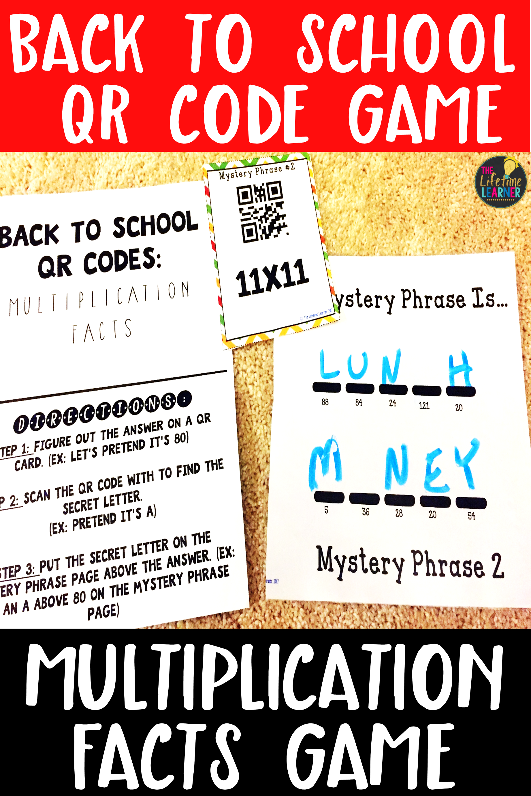 Qr Codes Multiplication Facts Back To School Game With
