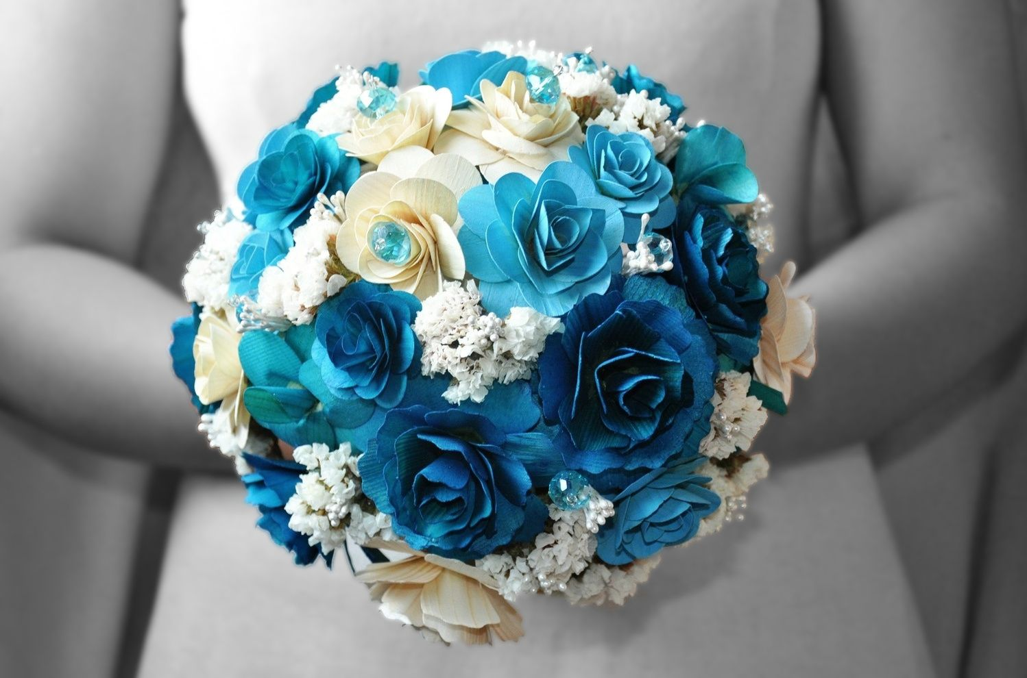 How to paper wedding bouquet blue wedding bouquets made of wood blue wedding bouquets made of wood paper corn husk and fossilized flowers izmirmasajfo