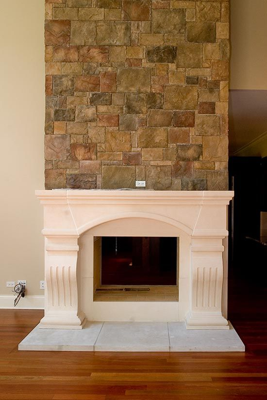 Idea Cast Stone Mantel With Field Stone Above Stone Fireplace