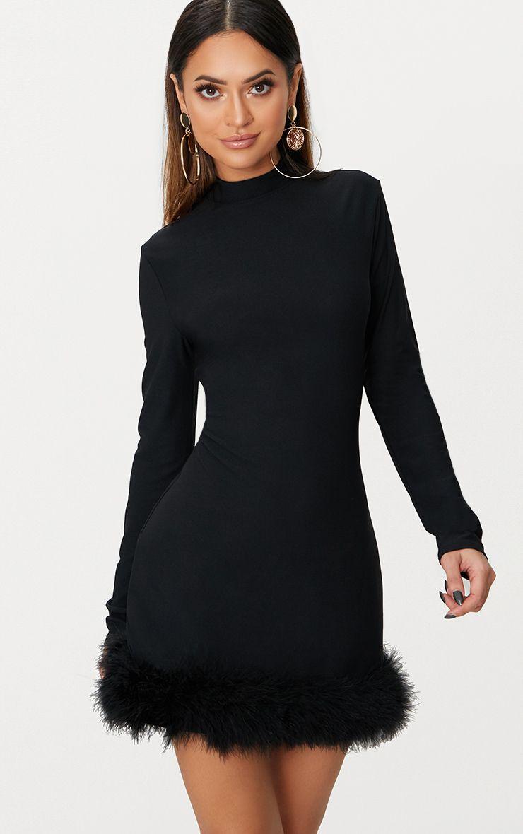 Black Feather Hem Detail Long Sleeve High Neck Bodycon Dress Black Long Sleeve Midi Dress Long Sleeve Midi Dress Bodycon Dress [ 1180 x 740 Pixel ]