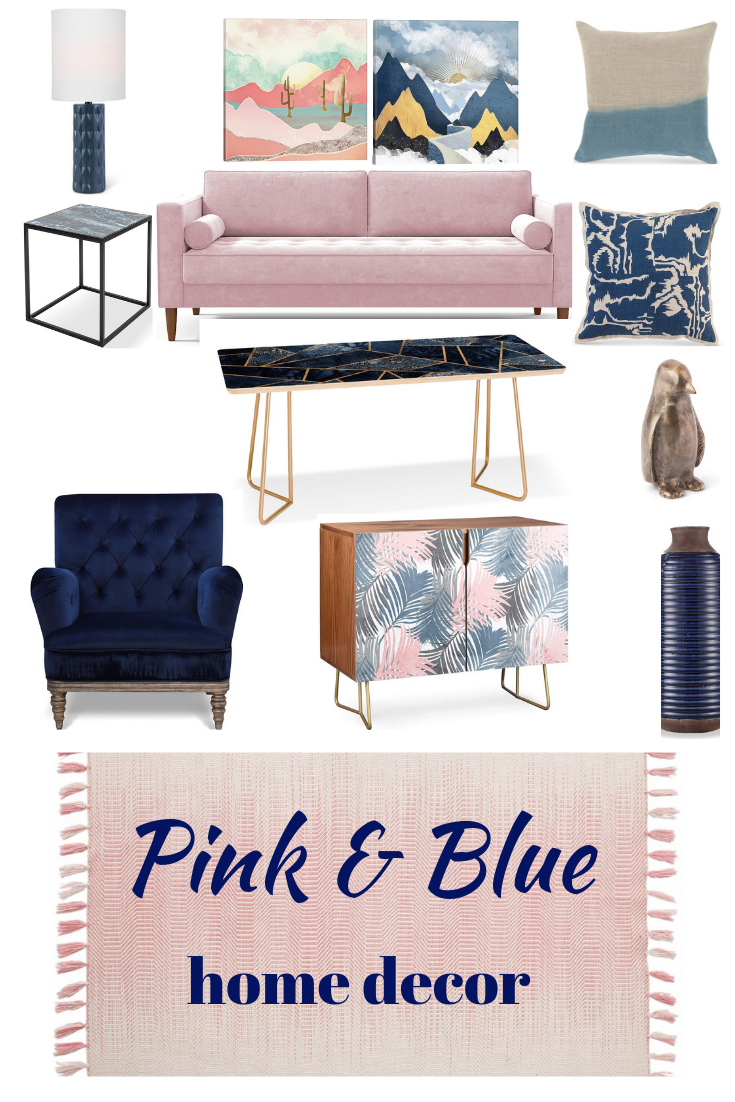Dusty Pink And Navy Living Room Idea Blue Living Room Decor Pink Living Room Decor Blue And Pink Living Room #navy #living #room #furniture
