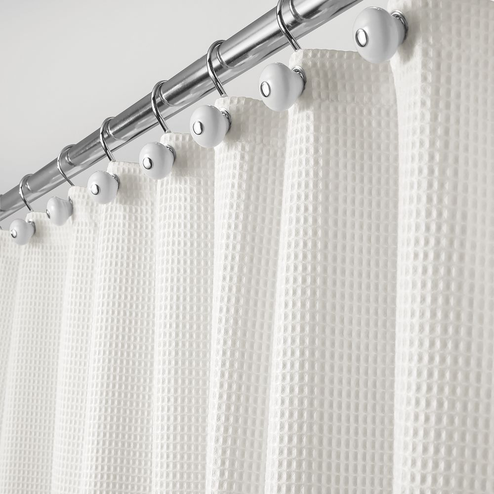 Mdesign Waffle Weave Fabric Shower Curtain 72 Long Stone White In 2020 Fabric Shower Curtains Cotton Shower Curtain White Shower Curtain
