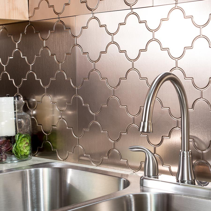 Monaco Backsplash In Brushed Nickel Decorative Wall Tiles Backsplash Panels Decorative Backsplash