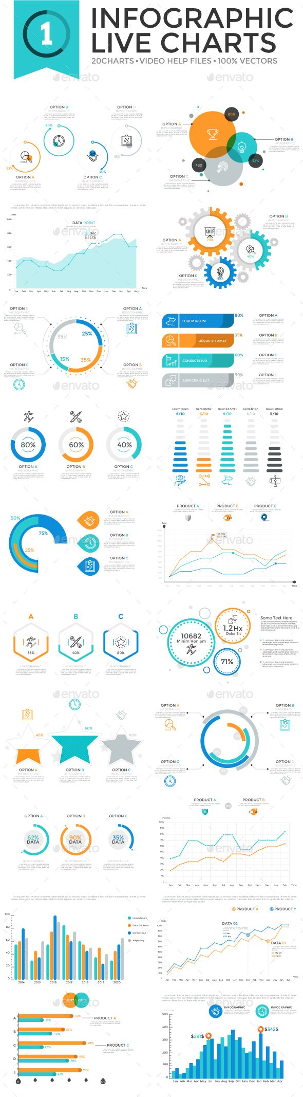 Infographic Live Charts v 1 contains 20 fully editable live graphs