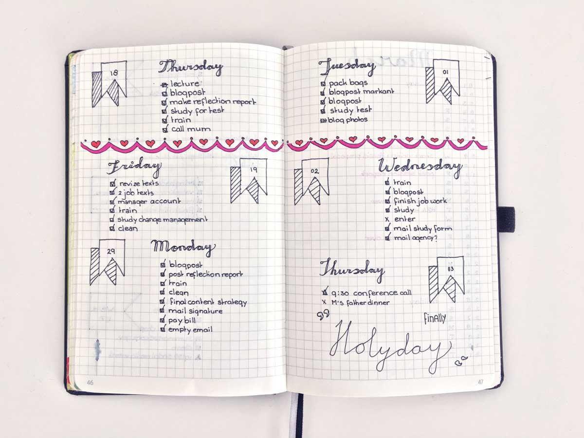 bullet journal daily inspiration pages nederland boekje journal hand drawn bullet. Black Bedroom Furniture Sets. Home Design Ideas