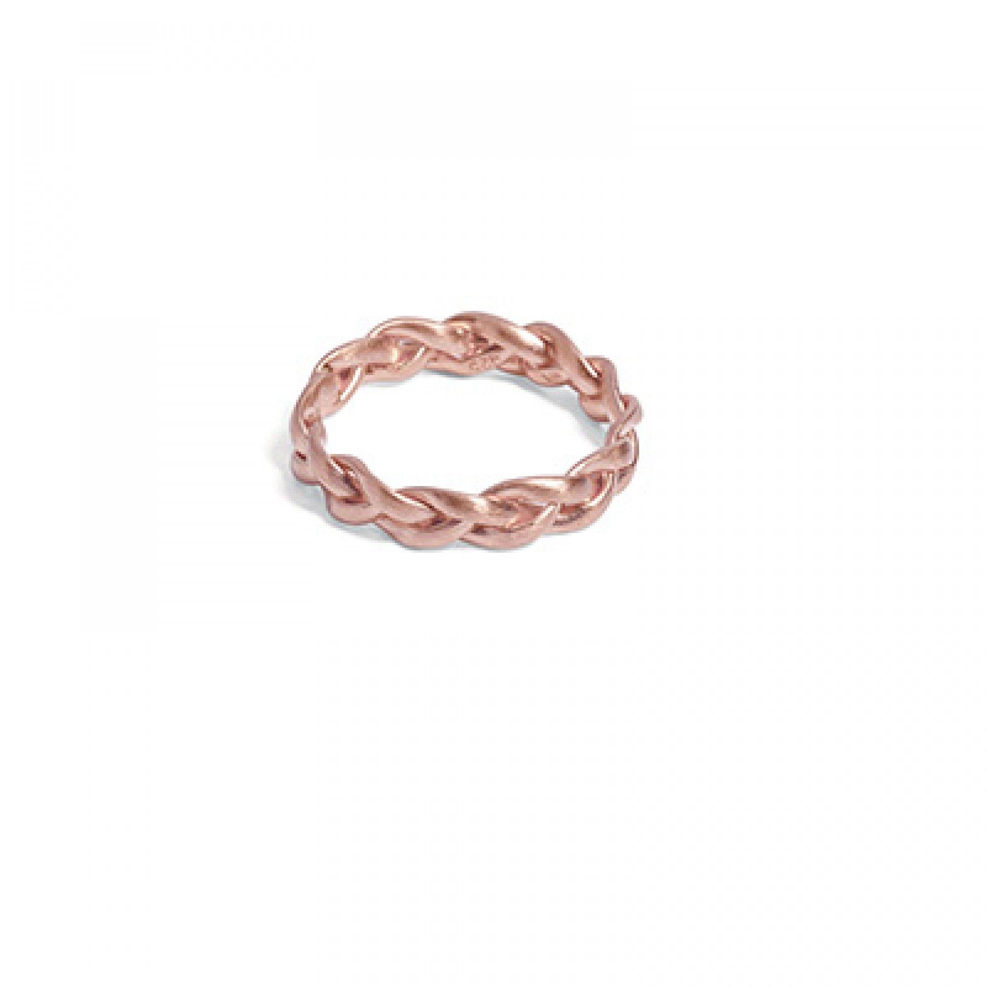 Mittelgroßer geflochtener Ring aus rosa vergoldetem Silber Ringe