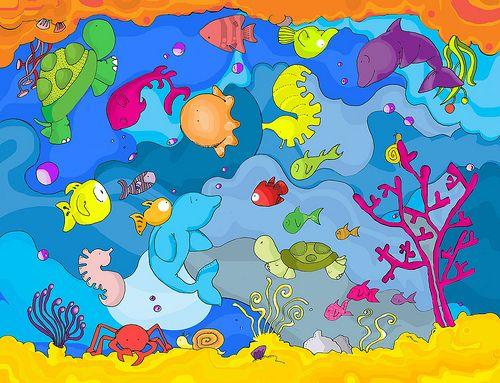 Dibujos para colorear de animales marinos dibujos coloreados y fotos de todos los animales bajo - Fotos fondo del mar ...