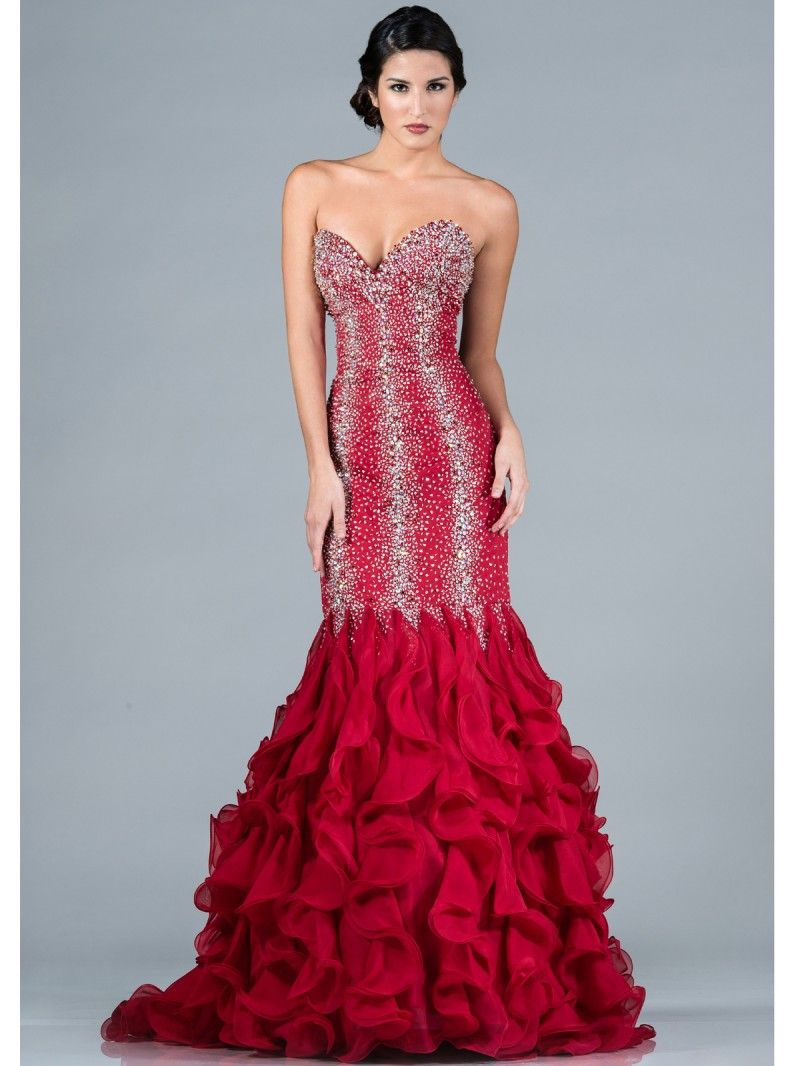 Red Jeweled Mermaid Prom Dress | Perfect Mermaid Prom Dresses ...