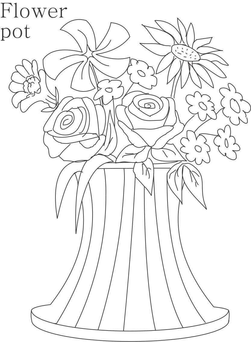 flower Page Printable Coloring Sheets Flower pot