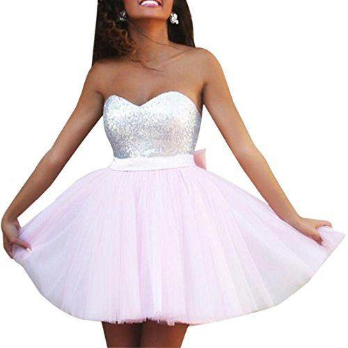Promgirl House Damen Chic Hellblau Rosa Orangerosa A-Linie ...