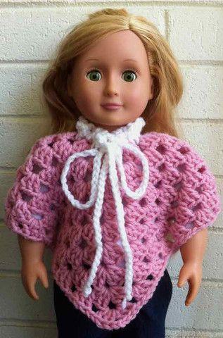 Maggies Crochet 18 Doll Granny Poncho Free Pattern Doll