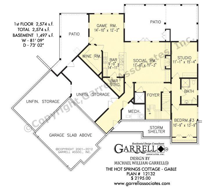 Hot Springs Cottage-Gable House Plan 12132 Basement Floor Plan Mountain Style  sc 1 st  Pinterest & Hot Springs Cottage-Gable House Plan 12132 Basement Floor Plan ...