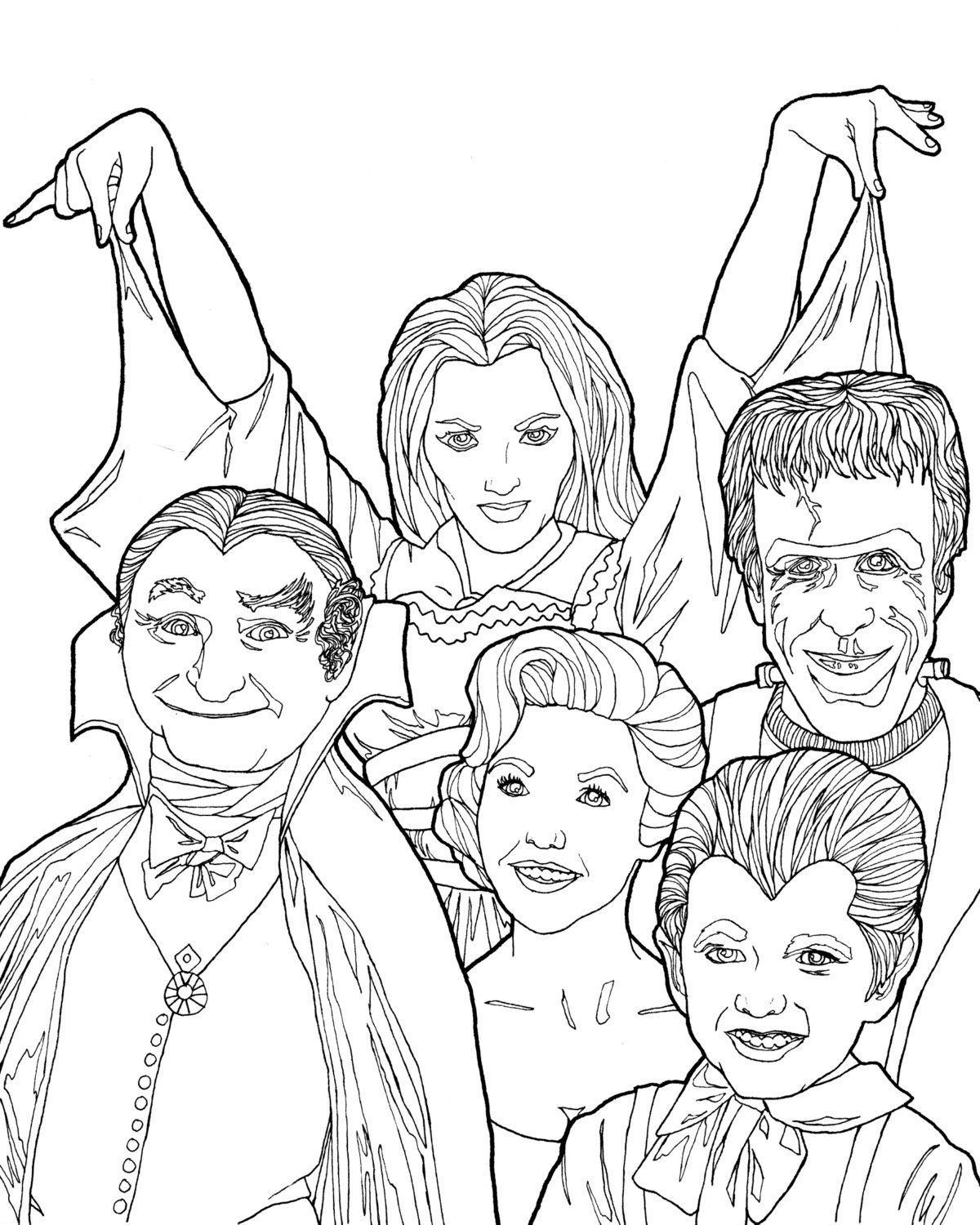 Digital download munsters coloring book page halloween for Selling coloring pages on etsy