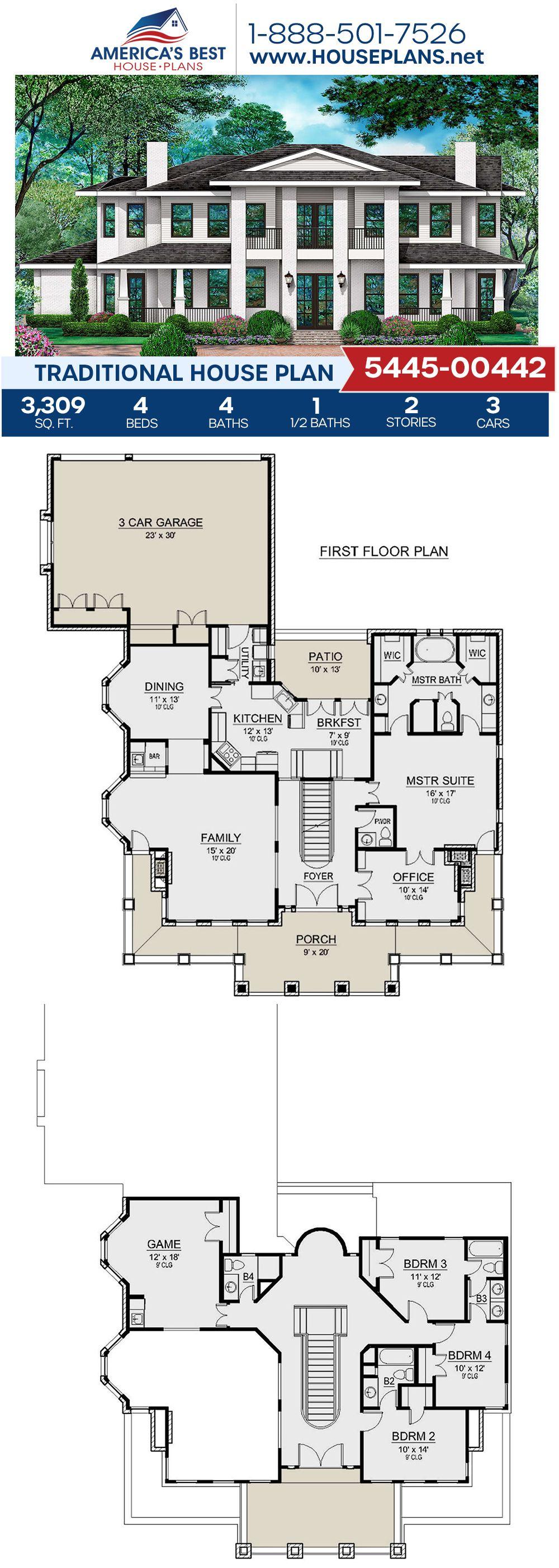 House Plan 5445 00442 Traditional Plan 3 309 Square Feet 4 Bedrooms 4 5 Bathrooms Traditional House House Plans Traditional House Plan