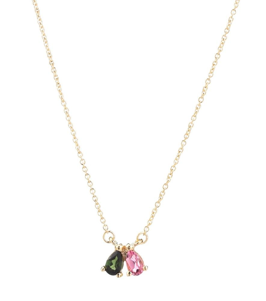 Aliita Necklace in 9K Yellow Gold with Green, Pink and Citrine Tourmaline