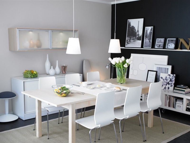 Deko Ideen · Ikea Esszimmer · IKEA   Dining Room Love The Dark Wall,  Shelves Table  Everything!