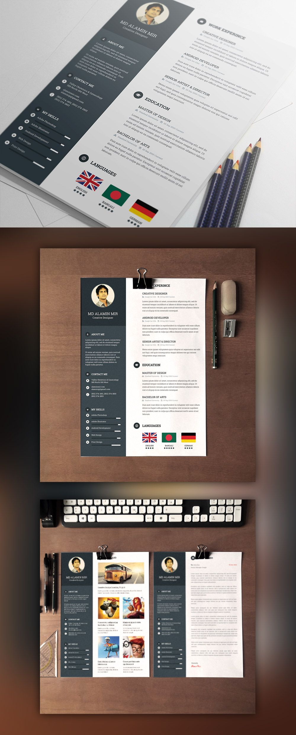 Designer Resume Template with Cover Letter Free PSD (avec
