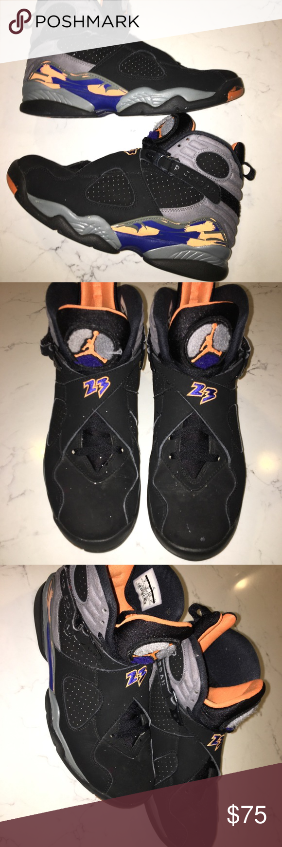 best authentic 1b88c 93fe1 Jordan 8 Retro Phoenix Suns- Size 9 Nike Jordan 8s Colorway  BLACK BRIGHT  CITRUS-COOL GREY-DEEP ROYAL BLUE RETAIL PRICE  160 RELEASE DATE 2013-05-18  No box.