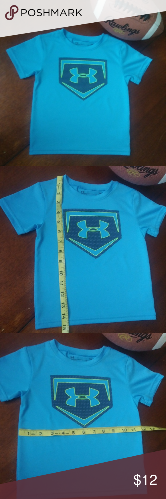 86c9feb80 Boys Under Armour Heat Gear shirt Size 24 Months Preloved Light Blue Short  sleeve shirt with Under Armour Logo in the front. Heat Gear is the first  layer to ...
