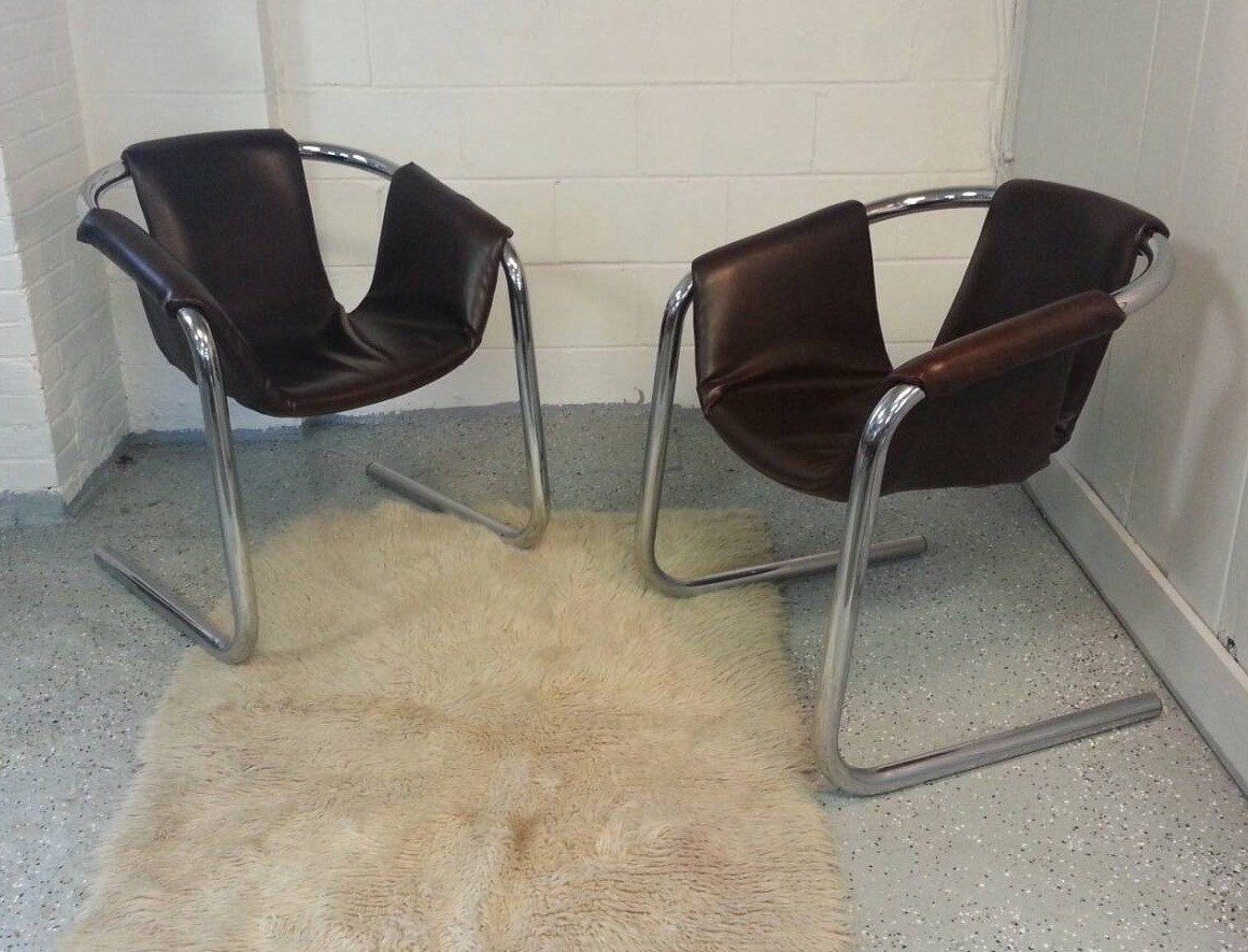Pair Of Mid Century Chairs By Vecta. Dark Brown Sling At Our Etsy Store And