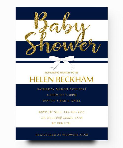 Nautical Baby Shower Invitation Navy Blue Gold Glitter Baby Shower