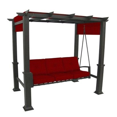 Target Pergola 3 Person Patio Swing Red Image Zoom