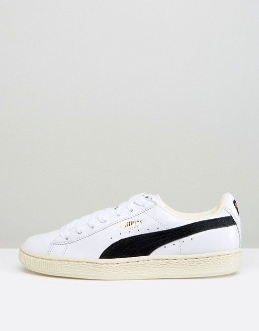 puma basket classic trainers in white and black