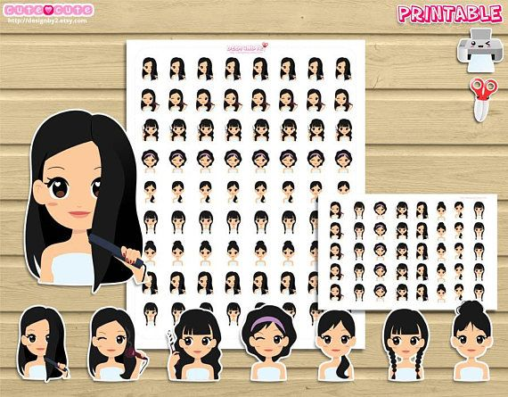 Chic hair plan printable planner stickers for use with your happy planner recollections