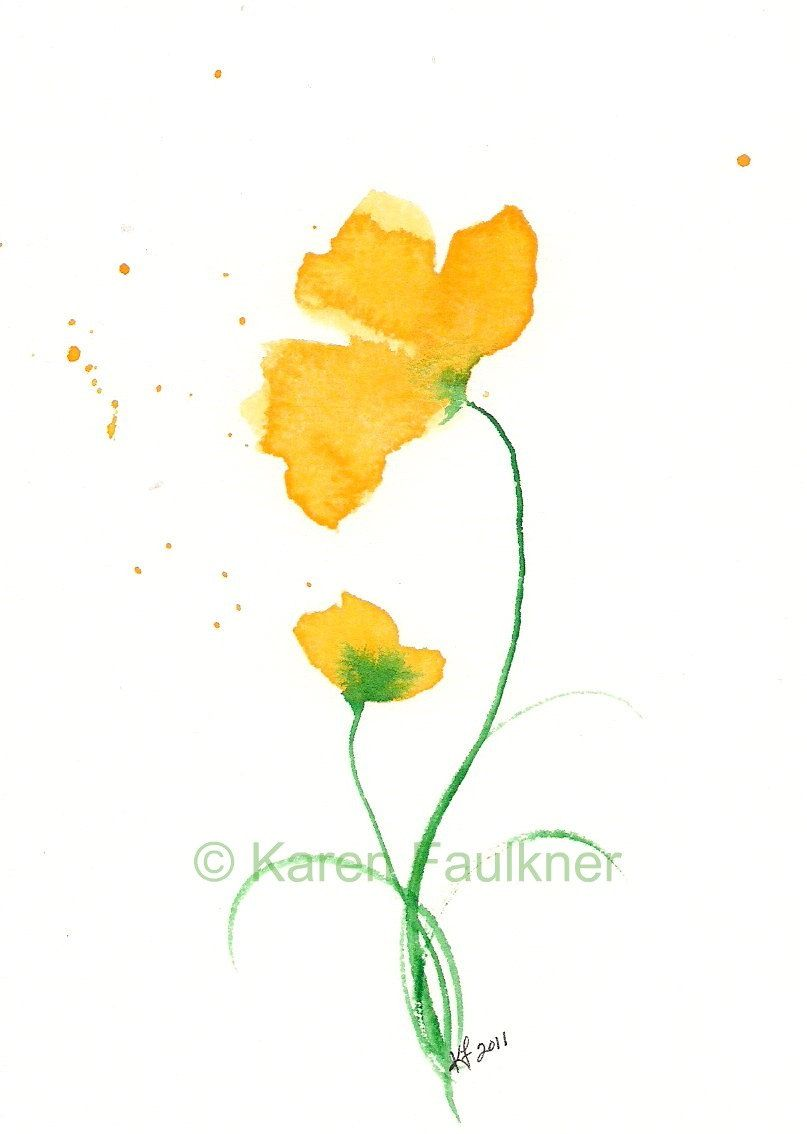 Art Print Of Yellow Watercolor Flowers Duet Flower Painting