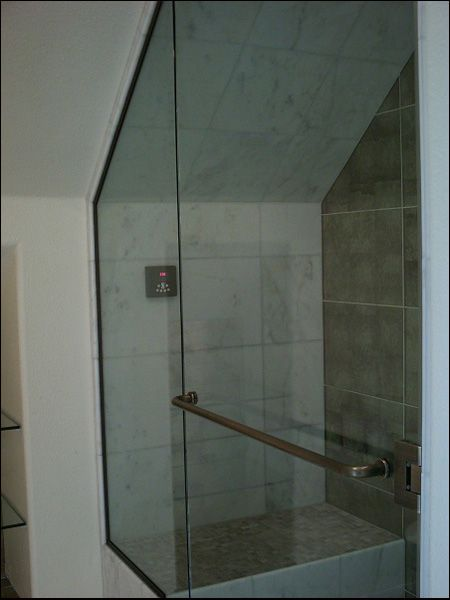Shower Doors For Sloped Ceilings We Also Installed Some 1 2 Inch Clear Glass Shelves That Are Just Sloped Ceiling Bathroom Bathroom Shelves Shower Doors