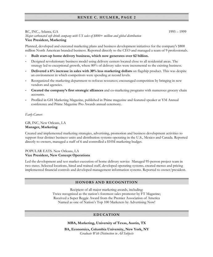 Marketing Executive Page2 Marketing Resume Free Resume Samples
