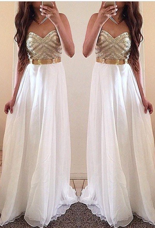White Prom Dresses, Gold Prom Dress, Unique Prom Dresses, Sexy Prom Dresses, 2016 Prom Dresses, Popular Prom Dresses, Dresses for Prom