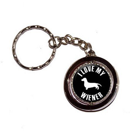 I Love My Wiener Dachshund Key Chain Keychain Ring, Silver