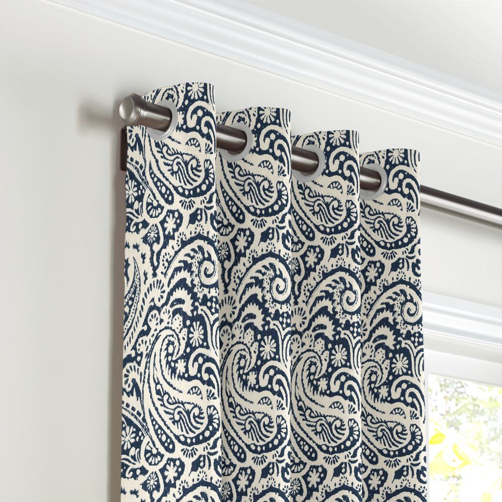 Navy And White Curtains Grommet Drapery Curtains Whites And Grommet Curtains