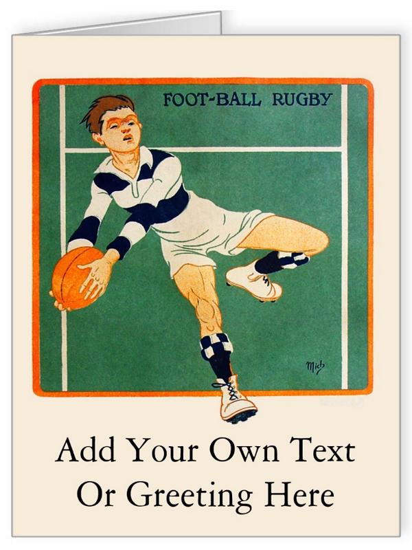 Vintage Rugby Personalised Greeting Card