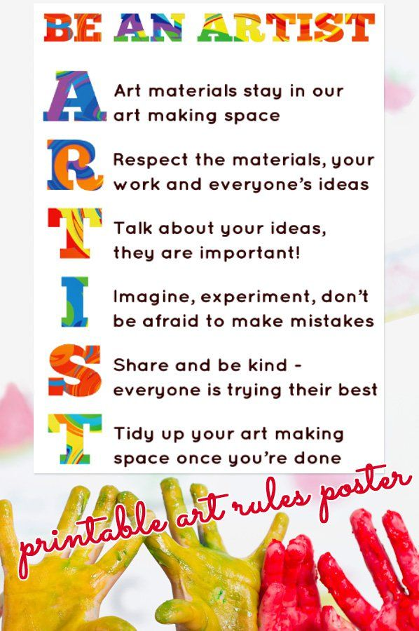 Our Art Room Rules Printable Poster Art Classroom Management